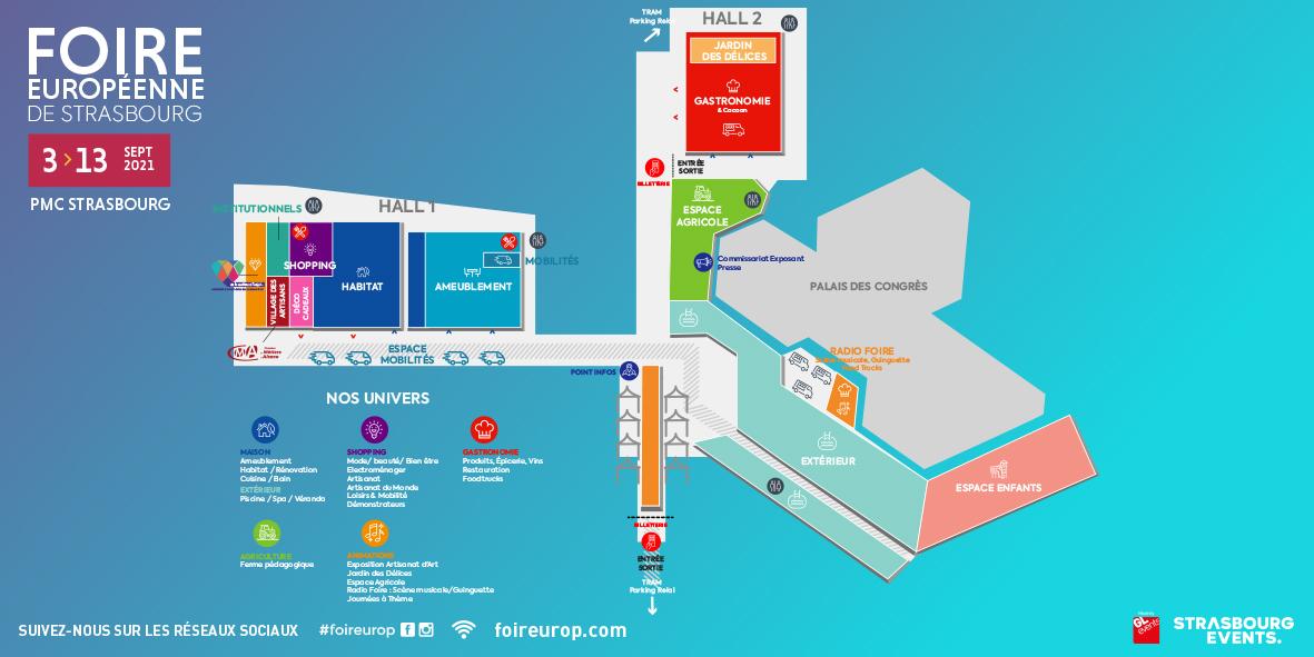 Plan de la foire européenne de Strabourg 2021